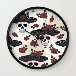 Day of the Dead Sugar Skulls halloween skull flower roses base Wall Clock