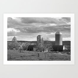 Cloudy Sky over Farm Art Print