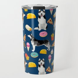 Husky siberian huskies junk food cute dog art sweet treat dogs pet portrait pattern Travel Mug