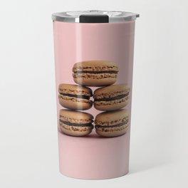 Macaroons on pink background Travel Mug