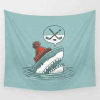 hockey Wall Tapestries featuring Hockey Shark by Nick Volkert