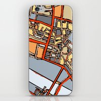 boston map iPhone & iPod Skins featuring Abstract Map- Boston Chinatown by Carland Cartography