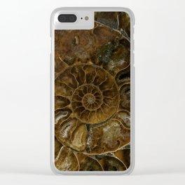 Earth treasures - brown amonite Clear iPhone Case