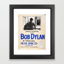 Vintage 1963 Bob Dylan Concert Poster Framed Art Print