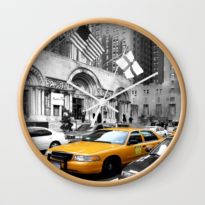 Nyc Yellow Cabs Avenue Usa Wall Clock By Hellprintsmunich Society6