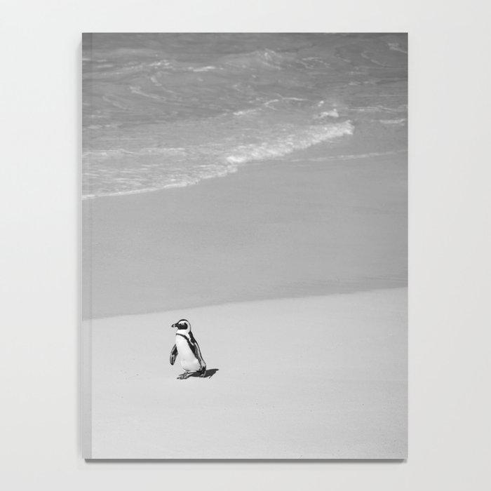 Lone African Penguin walking on beach Notebook