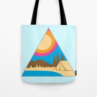 camping Tote Bags featuring Camping by Wendy Ding: Illustration