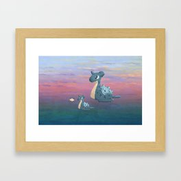 Swimming with Lapras. Framed Art Print