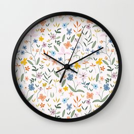 Vintage Inspired Wildflower Print Light Wall Clock
