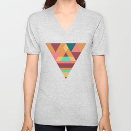 Colourful triangular mosaic in orange, red and green Unisex V-Neck