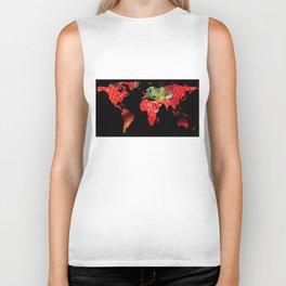 World Map Silhouette - Strawberries Biker Tank