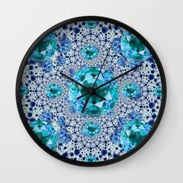 Aquamarine Gems Optical Pattern March Birthstone Art Wall Clock