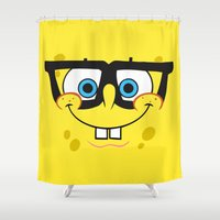 spongebob Shower Curtains featuring Spongebob Nerd Face by Cute Cute Cute