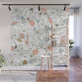 Abstract modern coral white pastel rustic floral Wall Mural