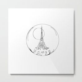 Paris in a Glass Ball Without a Shadow Metal Print