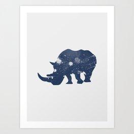 Rhino Brusches - Rhinoceros like the moon Art Print