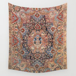 Persia Carpet 19th Century Authentic Colorful Black Blue Red Vintage Patterns Wall Tapestry