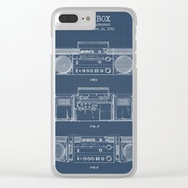 Boombox blueprints Clear iPhone Case
