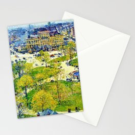 Classical Masterpiece 'Union Square in Spring' by Frederick Childe Hassam Stationery Cards