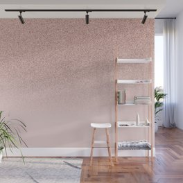 Trendy Rose Gold Faux Glitter Blush Pink Ombre Color Block Wall Mural