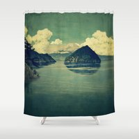 blues Shower Curtains featuring Distant Blues by Kijiermono