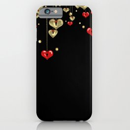 Beautiful glitter shine hearts on black Valentines Day greeting iPhone Case