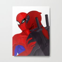 SpideyPool Kiss Metal Print