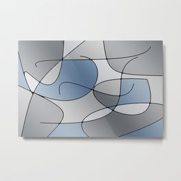 ABSTRACT CURVES #1 (Grays) Metal Print