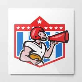 American Football Quarterback Bullhorn Cartoon Metal Print