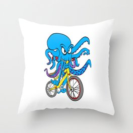 A Nice Biking Tee For Bikers With A Unique Awesome Illustration Of Octopus On A Bike T-shirt Design Throw Pillow