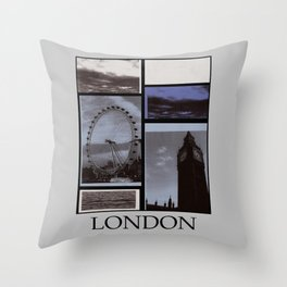 The London Eye and Big Ben with grey border. Throw Pillow