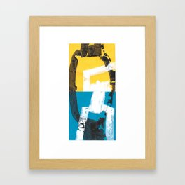 Yellow and blue abstract painting Framed Art Print