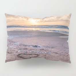 Love note Te Amo with the heart drawing on the beach at sunrise Pillow Sham