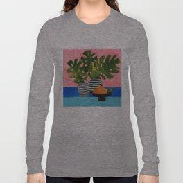 Pink Wall Monstera Long Sleeve T-shirt