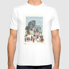 Potted Flowers I MEDIUM White Mens Fitted Tee