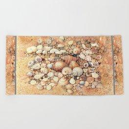 Shells on Sand Beach Towel