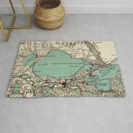 Vintage Map of Lake Pontchartrain (1887) Rug