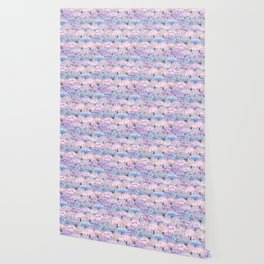 Large spring seamless pattern of flowering sakura and wisteria trees on a lilac background Wallpaper