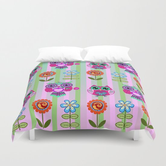 Fantasy summer flowers and owls on a striped background, pattern design Duvet Cover