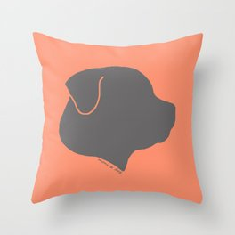 ROTTWEILER GREY ON PEACH Throw Pillow