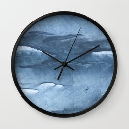 Gray Blue clouded wash drawing painting Wall Clock