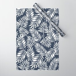 Tropical Palm Leaves - Navy Blue Wrapping Paper