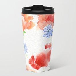 Orange Poppies with Blue Cornflowers Travel Mug