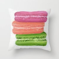 macaroons Throw Pillows featuring Macaroons by Nicole Malcolm
