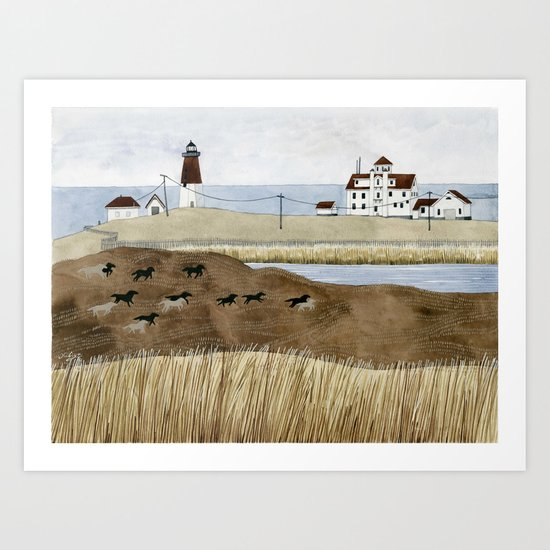 Seashore lighthouse and wild horses Art Print