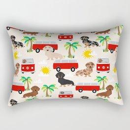 Dachshund Beach day palm tree summer dog cute dog pillow dog blanket beach towel Rectangular Pillow