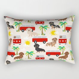 Dachshund Beach day palm tree summer dog cute dog pillow dog blanket beach towel Rectangular Pillow