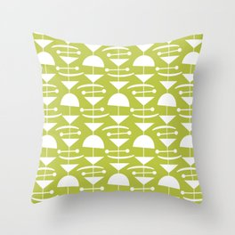 Retro Mid Century Modern Abstract Mobile 655 olive green Throw Pillow