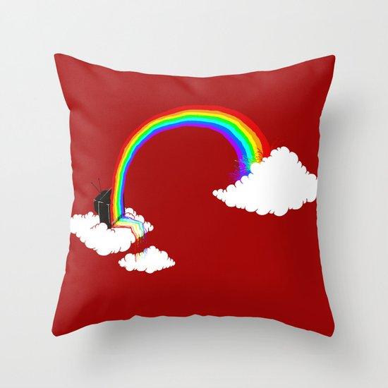 Rainbow TV Throw Pillow