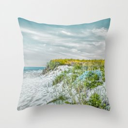 Chatham Lighthouse Beach in Teal Throw Pillow